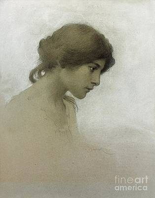 Feminine Drawing - Head Of A Girl  by Franz Dvorak