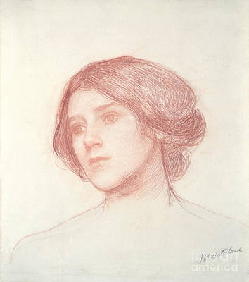Waterhouse Drawing - Head Of A Girl by John William Waterhouse