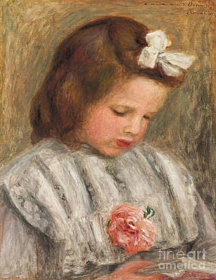 Homework Painting - Head Of A Girl, Tete De Fillette by Pierre Auguste Renoir