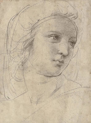 Drawing - Head Of A Muse by Raphael
