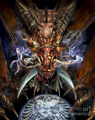 Fantasy Royalty-Free and Rights-Managed Images - Head Of A Red Dragon by Kurt Miller