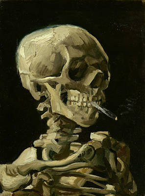Head Of A Skeleton With A Burning Cigarette Art Print