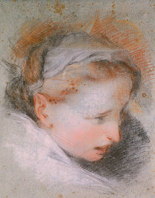 Drawing - Head Of A Woman, 1568-1569 by Federico Barocci