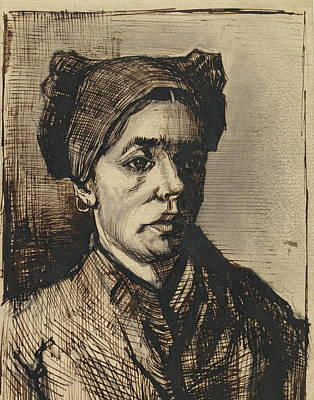 Focus On Foreground Painting - Head Of A Woman, 1884-85 06 by Vincent Van Gogh