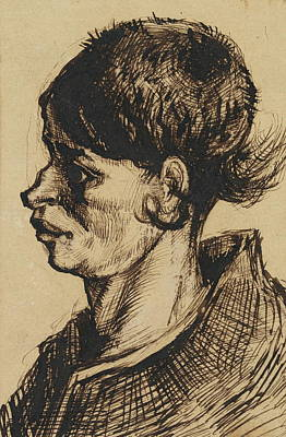 Drug Stores Painting - Head Of A Woman, 1884-85 15 by Vincent Van Gogh