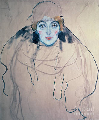 Faces Drawing - Head Of A Woman by Gustav Klimt