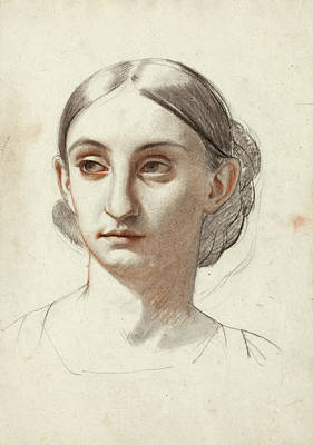 Isidore Pils Drawing - Head Of A Woman by Isidore Pils