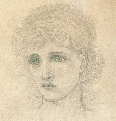 Big Eyed Girl Drawing - Head Of A Woman by John Melhuish Strudwick