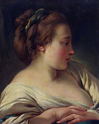 Breast Painting - Head Of A Young Girl by Francois Boucher