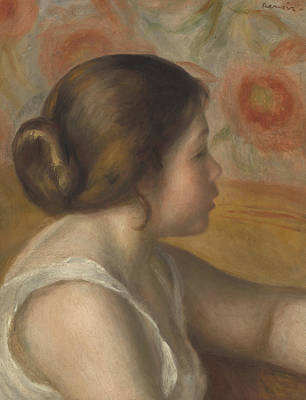 Hair Bun Painting - Head Of A Young Girl by Pierre Auguste Renoir