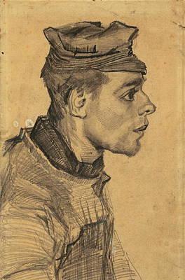 Head Of A Young Man, 1884-85 02 Art Print by Vincent Van Gogh