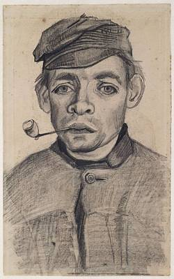 Painting - Head Of A Young Man With A Pipe Nuenen December 1884  May 1885 Vincent Van Gogh 1853  1890 by Artistic Panda