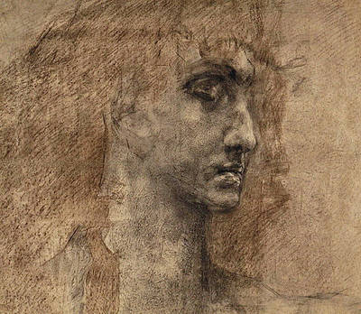 Pen And Ink Drawing Drawing - Head Of An Angel by Mikhail Aleksandrovich Vrubel