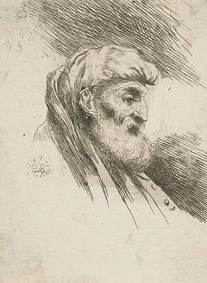 Relief - Head Of An Old Bearded Man Facing Right by Giovanni Benedetto Castiglione