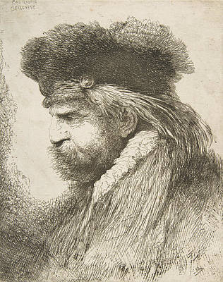 Relief - Head Of An Old Man Facing Left by Giovanni Benedetto Castiglione