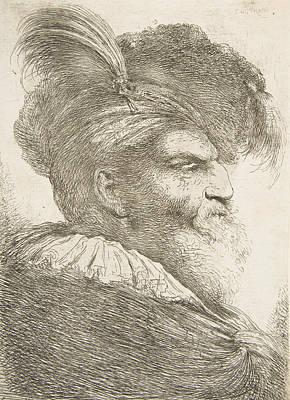 Relief - Head Of An Old Man Facing Right by Giovanni Benedetto Castiglione