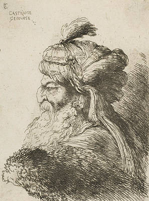 Relief - Head Of An Old Man With A Turban Facing Left by Giovanni Benedetto Castiglione