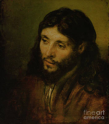 Religion Painting - Head Of Christ by Rembrandt
