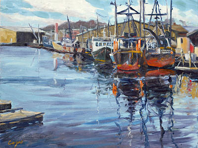Spool Painting - Head Of Gloucester Harbor by Chris Coyne