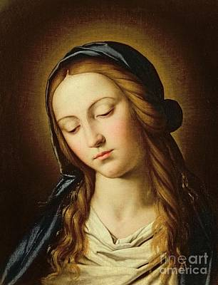 Devotional Painting - Head Of The Madonna by Il Sassoferrato