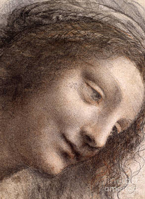 Faces Drawing - Head Of The Virgin Mary by Leonardo Da Vinci