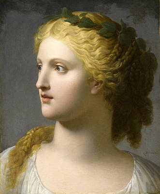 Painting - Head Of Woman Crowned With Laurel by Charles Paul Landon