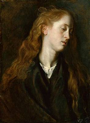 Painting - Head Study Of A Red-haired Young Woman Looking Down by Anthony van Dyck