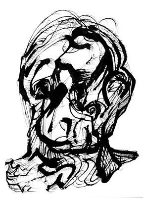 Drawing - Head With Hair by Daniel Schubarth