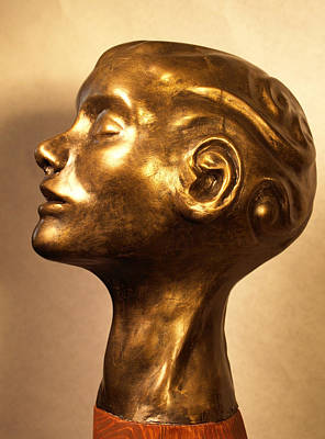 Sculpture - Head With Swirls View 1 by Katherine Huck Fernie Howard