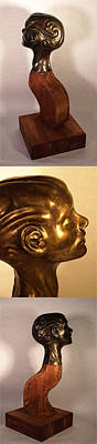 Sculpture - Head With Swirls Views 2 To 4 by Katherine Huck Fernie Howard