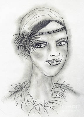 Drawing - Headband Deco Girl by Sonya Chalmers
