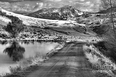 Photograph - Headed To The Yellowstone Forever Overlook Campus Black And White by Adam Jewell