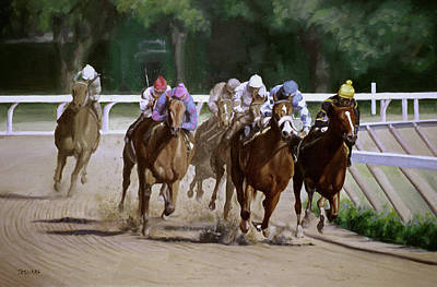 Horse Racing Painting - Heading For Home by Linda Tenukas