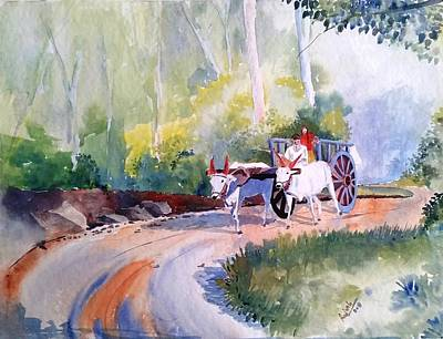 Bullock-cart Painting - Heading Home Father And Daugher by Rajesh Desai