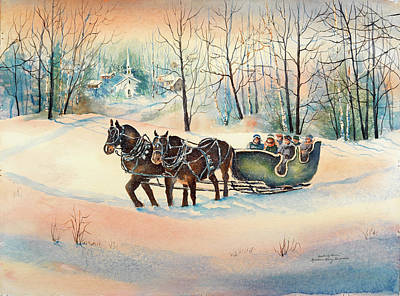 New England Snow Scene Painting - Heading Home by Kathleen Berry Bergeron