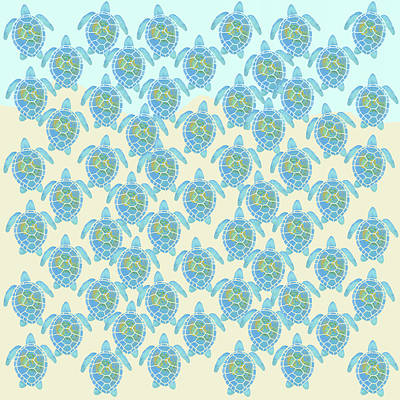 Digital Art - Baby Sea Turtles Heading Out To Sea by Denise Beverly