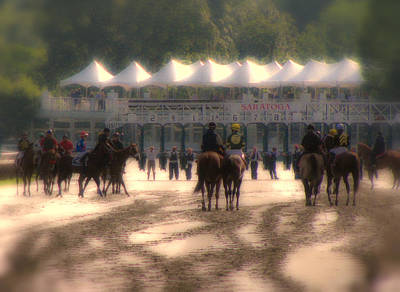 Heading To The Starting Gate At Saratoga Art Print by Jeff Watts