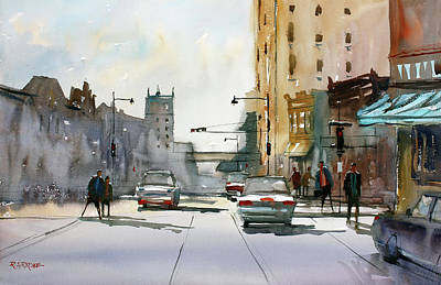 Painting - Heading West On College Avenue - Appleton by Ryan Radke