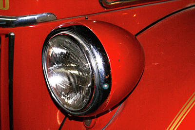 Headlamp On Red Firetruck Print by Douglas Barnett
