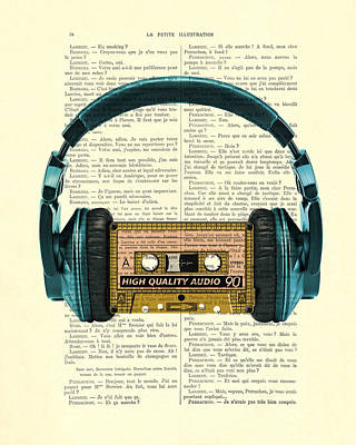 Cassettes Digital Art - Blue Headphone And Yellow Cassette Collage Print by Madame Memento