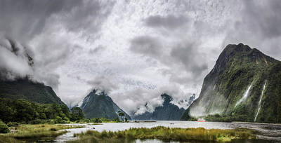 Photograph - Heads In The Clouds Panorama At Milford Sound by Daniela Constantinescu