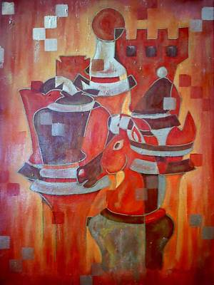 Chess Pieces Painting - Heads Of Chess by Shellton Tremble