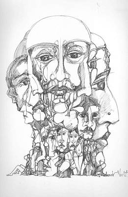 Abstract Forms Drawing - Heads by Padamvir Singh