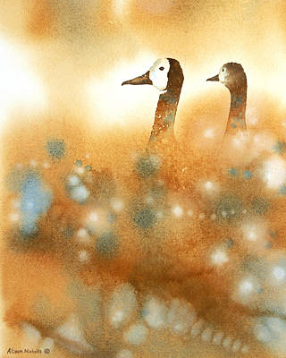 Goose Wall Art - Painting - Heads Up by Alison Nicholls