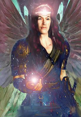 Saint Raphael Painting - Healing Angel/raphael by Suzanne Silvir