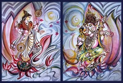 Parvati Painting - Healing Art - Musical Ganesha And Saraswati by Harsh Malik