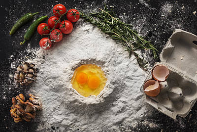 Health Food, Cooking Concept On Black Background Art Print by Valentin Valkov
