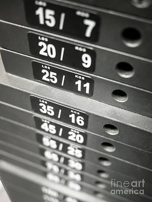 Healthclub Equipment Weight Plate Stack Art Print by Paul Velgos