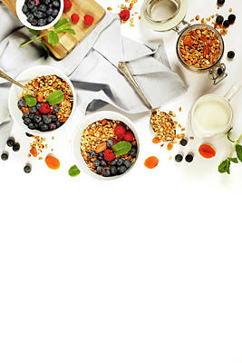 Healthy Breakfast -  Homemade Granola, Honey, Milk And Berries Art Print by Natalia Klenova