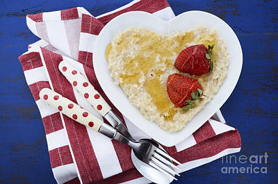 Healthy Breakfast Oats On Heart Shape Plate Print by Milleflore Images